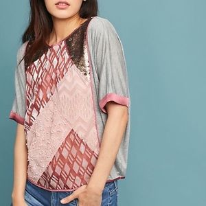 Anthropologie Sequin Patchwork Dolman Tiny Blouse